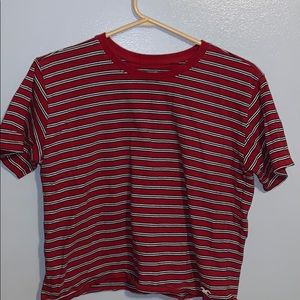 A red , blue , white striped Hollister shirt